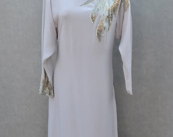 1970's Grey Long Sleeve Disco Dress with Handbeaded silver detail.