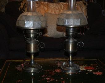 Fab Vintage / Antique Converted Lantern / Oil Table Lamps