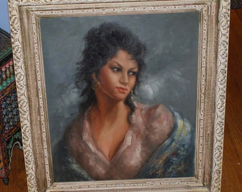 Breathtaking 70's Era Original Oil Painting Of Italian / Roma Woman