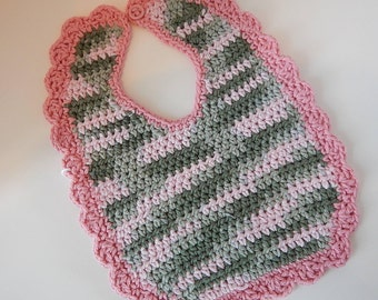Baby Bibs - Crocheted - Pink & Green Ombre - Pink Camo - Washable - Adorable Bibs - 100% Cotton