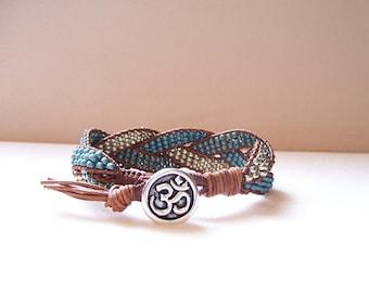 Silver Om Beaded Braided Leather Wrap Cuff Bracelet, Beaded Leather Cuff, Om Bracelet, Om Jewelry, Yoga Jewelry, Yoga Leather Bracelet