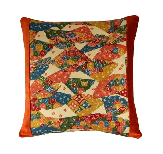 Orange Pattern Pillow Cover Asian Throw Pillow 16x16 Orange