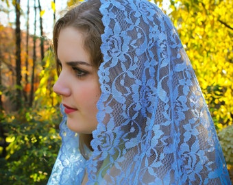 Evintage Veils~ Our Lady Marian Blue Mystical Rose Lace Chapel Veil Mantilla Triangle Veil