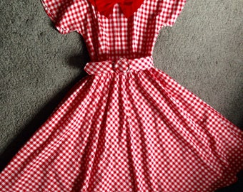 Vintage red and white gingham picnic dress UK 6 8 US 2 4 XS
