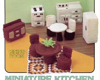 Miniature Kitchen & Dining Room crochet Pattern from Annie's Attic | Craft Leaflet
