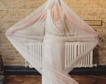 Wide soft silky wedding veil, soft silky tulle, full single tier veil, wide veil, raw edge veil, English Net, chapel, cathedral