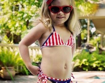 Girls Patriotic Bikini, Fourth of July Baby Toddler Swimsuit, Swimwear, Bathing Suit, Bikini, Swim Suit, Beach Baby girl, Girl Swim July 4th