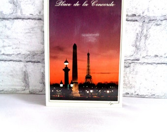 Vintage Used French postcard 1990s from France Place de La Concorde Paris at Night Eiffel Tower stamped postmark 1991 SKU F