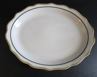 Syracuse SY474 Large Oval Serving Platter Restaurant Ware Mustard and Black Band Scalloped