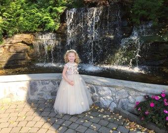 Princess Flower Girl Dress, Lace Flower Girl Dresses, Flower Girl Dress, Custom Wedding Dresses, Tutu Skirt Girls Dress, HandMade in the USA
