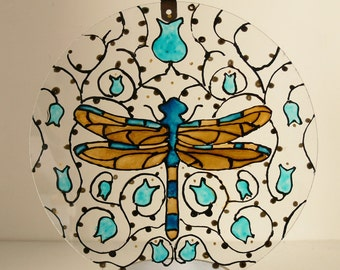 Large Blue & Gold Dragonfly Suncatcher - Hand Painted - Made To Order - Art Nouveau