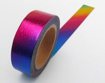 Rainbow Washi Tape // Iridescent Foil Washi Tape •  Back to School • Bullet Journal • Mermaid Stationery • Colourful Metallic Tape
