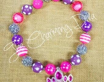 Princess Tiara Crown Bubblegum Bead Necklace