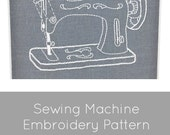 Embroidery Pattern, Vintage Sewing Machine, craft room decor, sewing room decor, PDF embroidery pattern, I Heart Stitch Art, iheartstitchart