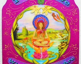 Inspirational wall hanging, Yoga art, Meditation art, Heart chakra, Lotus pond, Healing art, Healing Hands, Love art