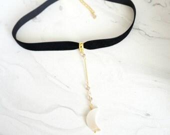 Moon choker necklace, Black choker, Moon choker, Black and Gold Choker, Necklace, Jewelry, Gold choker, Bridesmaid Gift, Everyday Jewelry