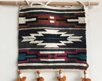 Abstract Ecuadorian Wool Hand Woven Wall Hanging in Teal, Magenta, Gray, and Burnt Sienna