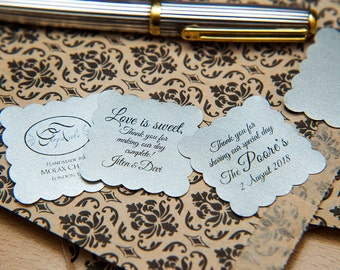 """200 Silver Pearlised 1.5 inch Square Shiny Stickers, Envelope Seals. Custom Blue Stickers. 1.5"""" Save the date stickers. Invitation Seals."""