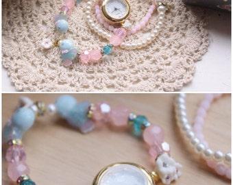 Peace and prosperity - beaded bracelet watch crystal jewelry
