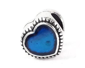 Blue Heart Bead, Heart Charm, Large Hole Bead, European Bead, Charm Bead, Charm Bracelet, European Charm, Big Hole Bead