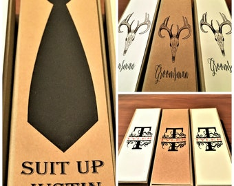 Asking groomsmen etsy for Cigar box wedding invitations