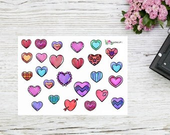 Planner stickers small hearts planner stickers colorful doodle hearts