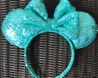 Aqua Green (Mint) Full Sequin Minnie Mouse Ears