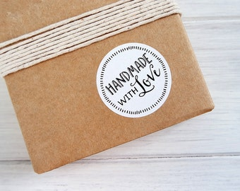 SALE! 24 Handmade With Love Stickers Labels Rustic Envelope Seals 40mm / White Textured Stickers / 265