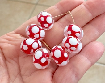 2+  Red White Polka Dot Beads, Polka Dot Beads, White Polka Dot Lampwork Beads, Red  or pink or orange Dotted Beads