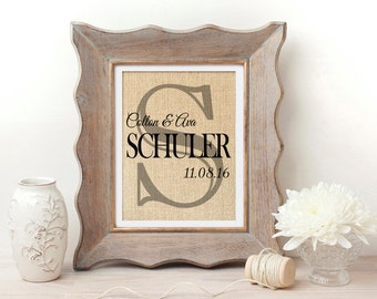 Personalized Burlap Family Sign | Monogrammed Burlap Wall Art | Family Established Sign | Family Date Sign | First Home | Housewarming Gift