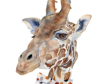 Watercolor Print All Dressed Up Giraffe 8.5 x 11