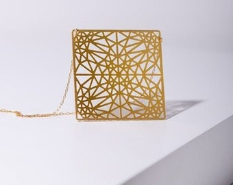 MIZYAN's gold plated big square necklace, triangles, geomertic accessories