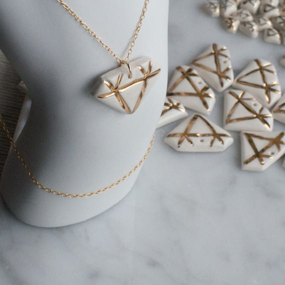 Porcelain Diamond Necklace with Gold chain and 18k gold lustre details
