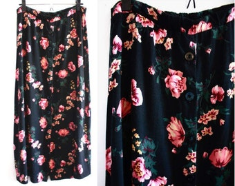 Vintage 90's Black with Floral Print Button Up Maxi Skirt | Bohemian Maxi Skirt | Floral Midi Skirt