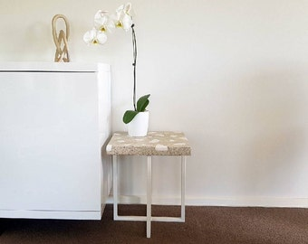Concrete side or end table - white concrete coffee table with white granite exposed stones and powder coated steel base.