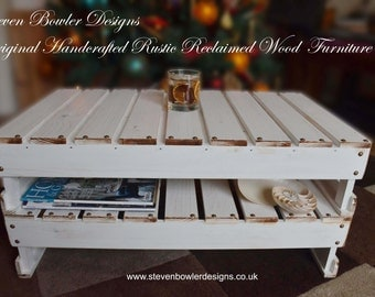 White Nautical Reclaimed Wood Coffee Table with Handy Under Shelf Storage Decorative Edging & Tacks Handcrafted to Order