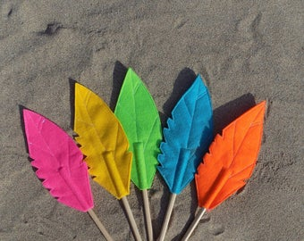 Set of Five Felt Quill FEATHER Pencil Toppers, Vegan