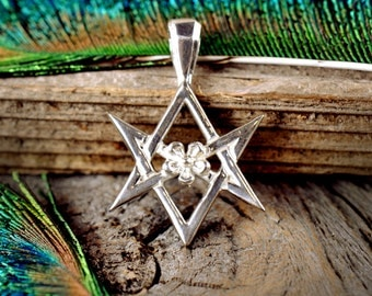 Star of Babalon ~ Unicursal Hexagram with Rose ~ OTO Thelema Crowley ~ Sterling Silver Pendant
