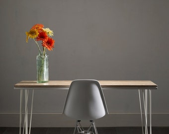 Desk / Table In Solid White Washed Distressed Oak  - Striking Design