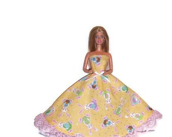 Fashion Doll Clothes-Yellow Easter Bunny Print Strapless Dress