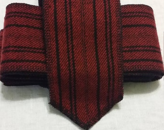 Red and black striped wool blend Viking leg wraps (winingas)