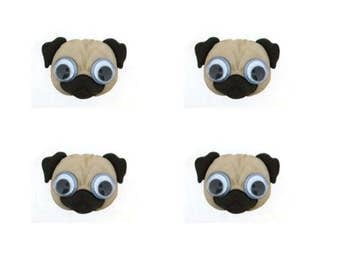 Pug Dog Buttons Google Eyed Jesse James Buttons Dress It Up Buttons Set of 4 Shank Back - 831