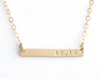 "Mini Date Bar Necklace-  1"", Gold Filled, Sterling Silver or Rose Gold Filled"