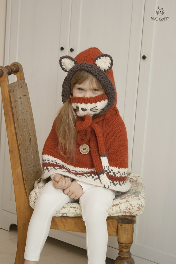 Knitting Pattern Fox Hood : KNITTING PATTERN fox poncho with hood and cowl Lexi with Fair
