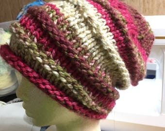 Knit Adult Slouch Hat in Dark Red, Green, Cream, and Dark Brown