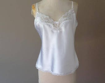 36 / Satin Cami Camisole Lingerie Sleepwear PJ Pajama Tank Top / White with Lace / Vintage Maidenform / FREE USA Shipping
