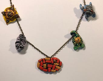 Handmade Jewelry, Painted Charms with Silver, Gold, and Bronze Accents, Bracelets or Necklaces
