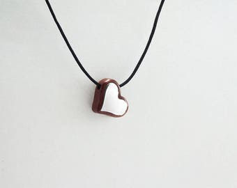 PENDANT HEART Wooden High quality Handmade Jewelry by Silver 925 and Rosewood