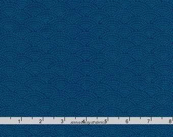 Blue Scallop Fabric, Timeless Treasures You Are Magical C5100 Blue Dash Scallop, Teal & Blue Scallop Quilt Blender Fabric, Cotton