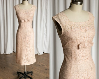 Crush on Blush dress | vintage 50s dress | pink lace 1950s sheath dress | pink lace 50s dress | 1950s blush pink dress |  sleeveless 50s